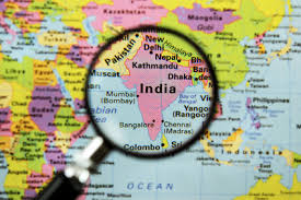 Location of India on a map